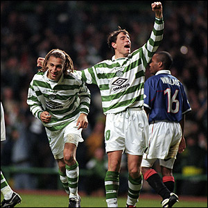 O'Donnell and team-mate Henrik Larsson rejoice in the 5-1 humbling of Rangers in 1998