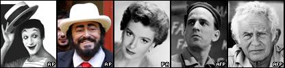 De izquierda a derecha, Marcel Marceau, Luciano Pavarotti, Deborah Kerr, Ingmar Bergman y Norman Mailer