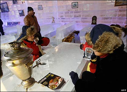 An ice bar in Harbin, in China's north-east Heilongjiang province