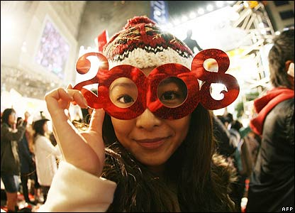 New Year revellers in the Causeway Bay district of Hong Kong