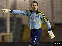 Dunfermline's on-loan goalkeeper Paul Gallacher