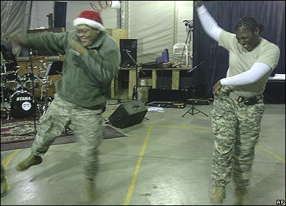 US soldiers dance in Kabul