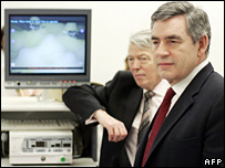 Gordon Brown and Alan Johnson at the Royal Marsden in London