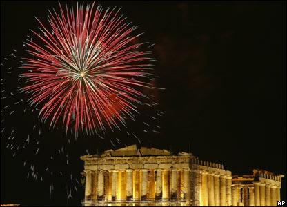 Fireworks above Parthenon, Acropolis hill, Athens