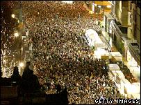 Some of the huge crowds in Edinburgh's Princes Street
