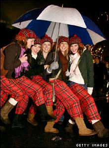 Partygoers celebrate New Year in Edinburgh