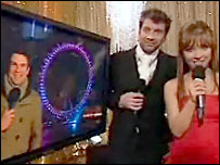 A screen grab showing Gethin Jones, Nick Knowles and Myleene Klass