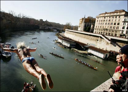A man diving off a bridge