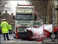 Wreckage of car crash