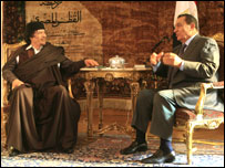 الرئيس المصري والزعيم الليبي (01/01/2008)