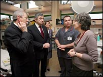 Alan Johnson and Gordon Brown meet staff at the Royal Marsden in London