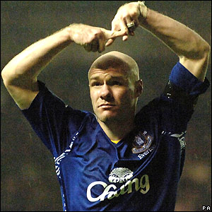 Andrew Johnson celebrates after scoring Everton's opening goal