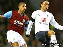 Dimitar Berbatov and Curtis Davies at Villa Park