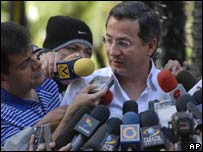 The brother of Clara Rojas, Ivan, talks to the media in Caracas