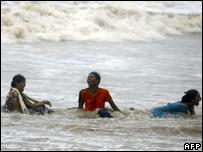 Women revellers at Mumbai's Juhu beach