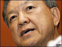 Malaysian Health Minister Chua Soi Lek announcing his resignation