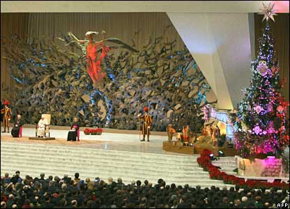 Pope Benedict XVI holds his first general audience of 2008 in St Peter's Basilica at the Vatican