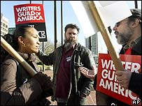 Striking writers in Baltimore in December
