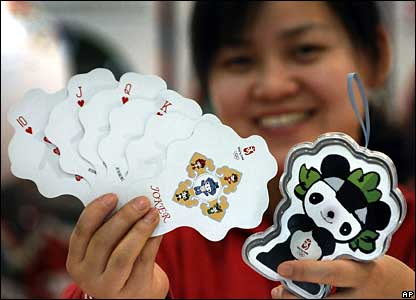 A set of poker cards shaped in the form of Fuwa, the mascot of the Beijing 2008 Olympic Games,