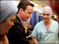 David Cameron visits an NHS hospital