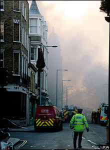 Billowing smoke at scene of Royal Marsden fire