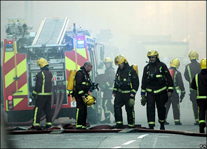 Fire officers at scene of Royal Marsden fire