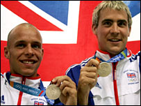 Peter Waterfield (left) and Leon Taylor win silver at the 2004 Olympics