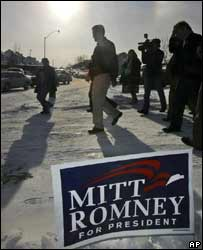 Republican Mitt Romney on the hunt for votes in Iowa on 1 January