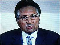 Screen grab of President Musharraf on Pakistan TV