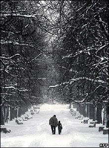 A snowy park in Sofia, Bulgaria