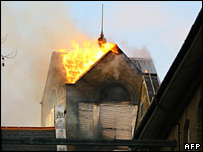 Roof of hospital alight
