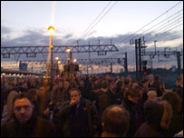 Commuters at Stratford railway station