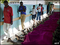 People try to identify dead relations in a Kisumu morgue on 2 January