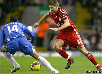 Steven Gerrard drives forward for Liverpool