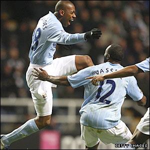 Fernandes Gelson celebrates his goal at Man City go 2-0 up