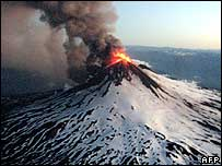 Llaima volcano eruption