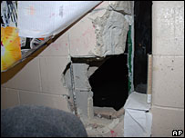 Hole in the wall of Jose Espinosa's cell
