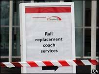 Sign for rail replacement coach services