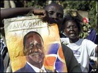 Raila Odinga supporters carry poster