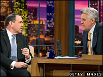 Mike Huckabee (l) and Jay Leno