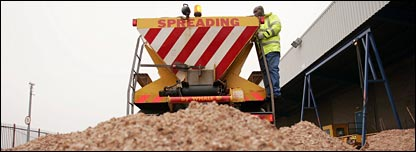 Gritter and a pile of grit