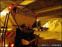 Gritters load up before heading out on Northampton's roads in winter 2005