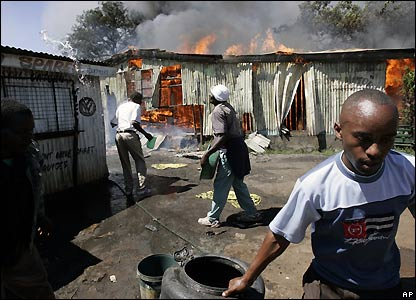Burning shops in Nairobi, Kenya