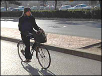 A cyclist in Beijing
