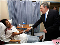 Gordon Brown meets a patient