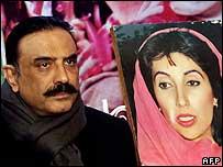 Asif Zardari by photo of Benazir Bhutto