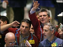Floor traders at the New York Mercantile Exchange
