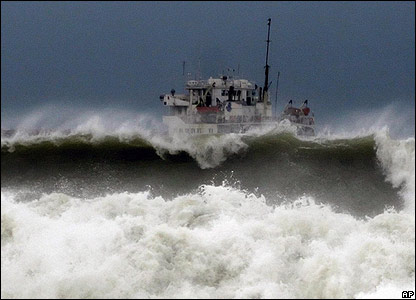 Ship rocked by waves in the port of Varna