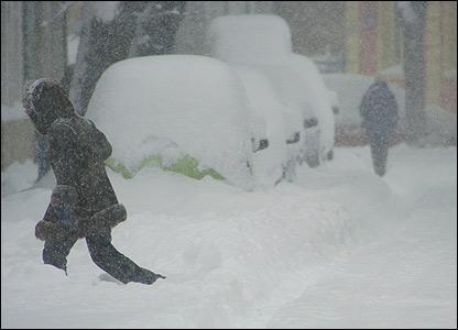A snow-bound street in Bucharest