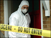 Forensics expert at crime scene